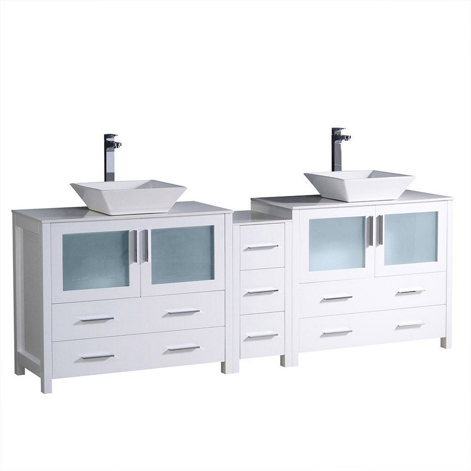 "Fresca Torino 84"" Modern Double Sink Bathroom Cabinets with Tops & Vessel Sinks Fresca 72 inch and larger Double Vanity White"