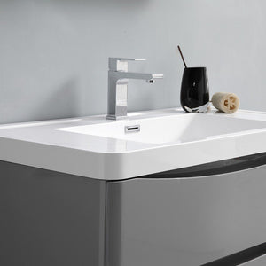 "Fresca Tuscany 24"" Wall Hung Modern Bathroom Cabinet with Integrated Sink Fresca 24 inch Single Vanity"