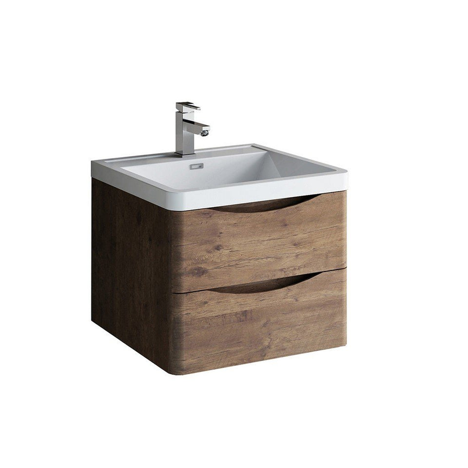 "Fresca Tuscany 24"" Wall Hung Modern Bathroom Cabinet with Integrated Sink Fresca 24 inch Single Vanity Rosewood"