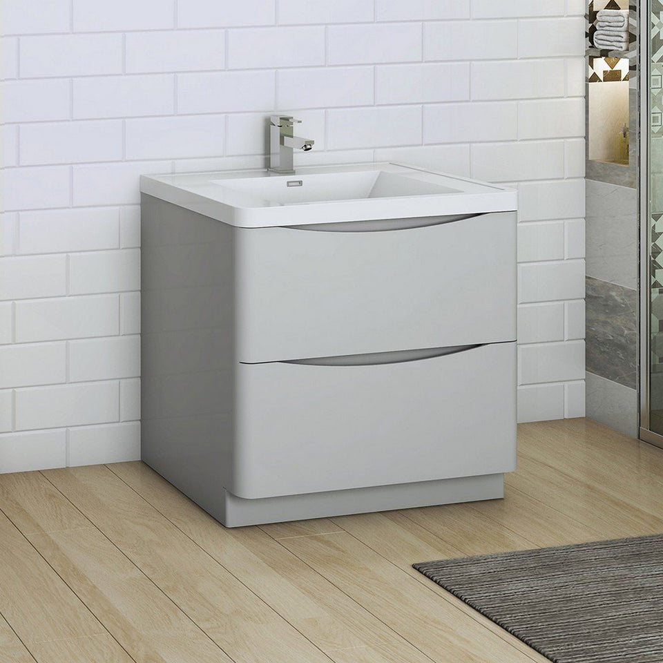 "Fresca Tuscany 32"" Free Standing Modern Bathroom Cabinet with Integrated Sink Fresca 32 inch Single Vanity"
