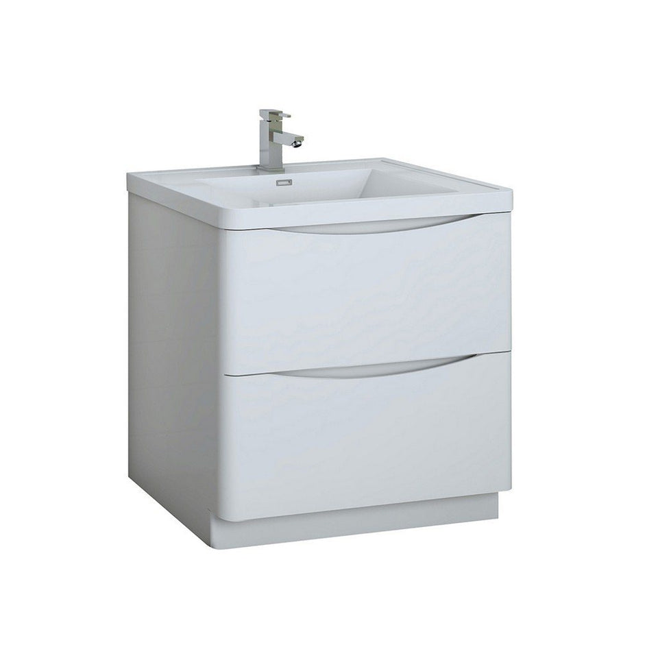 "Fresca Tuscany 32"" Free Standing Modern Bathroom Cabinet with Integrated Sink Fresca 32 inch Single Vanity Glossy White"