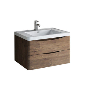 "Fresca Tuscany 32"" Wall Hung Modern Bathroom Cabinet with Integrated Sink Fresca 32 inch Single Vanity Rosewood"