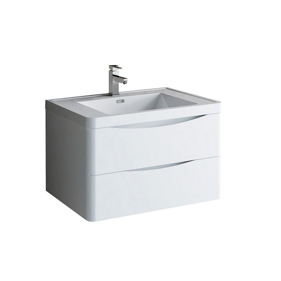 "Fresca Tuscany 32"" Wall Hung Modern Bathroom Cabinet with Integrated Sink Fresca 32 inch Single Vanity Glossy White"