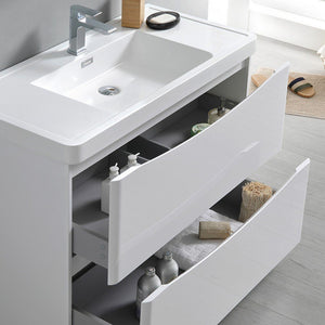 "Fresca Tuscany 36"" Free Standing Modern Bathroom Cabinet with Integrated Sink Fresca 36 inch Single Vanity"