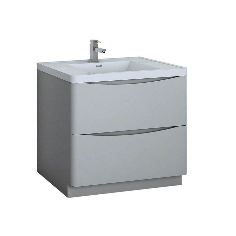 "Fresca Tuscany 36"" Free Standing Modern Bathroom Cabinet with Integrated Sink Fresca 36 inch Single Vanity Glossy Gray"