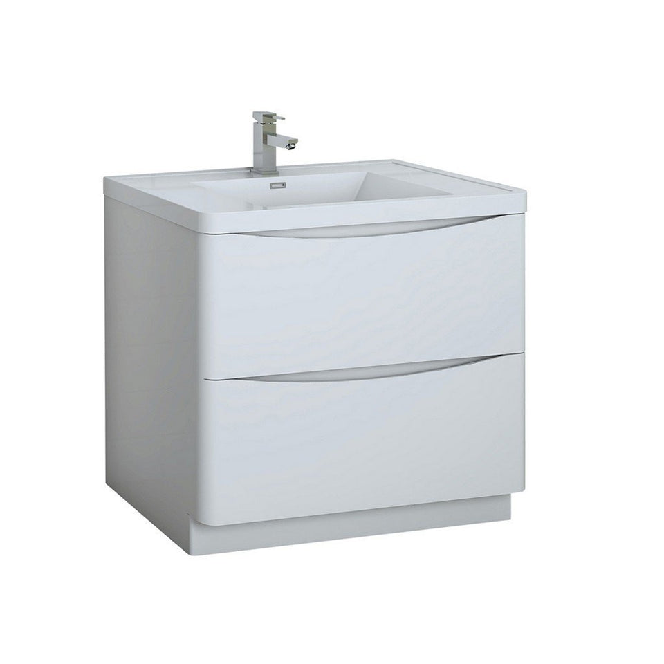 "Fresca Tuscany 36"" Free Standing Modern Bathroom Cabinet with Integrated Sink Fresca 36 inch Single Vanity Glossy White"