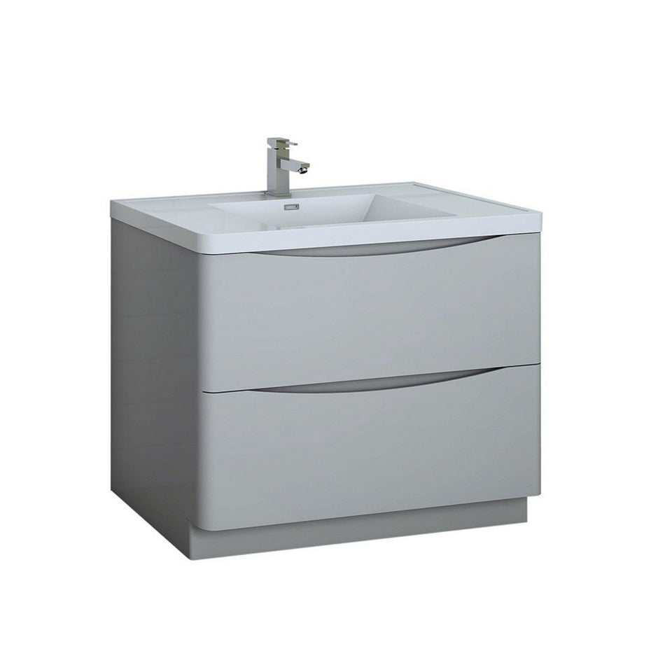 "Fresca Tuscany 40"" Free Standing Modern Bathroom Cabinet with Integrated Sink Fresca 40 inch Single Vanity Glossy Gray"