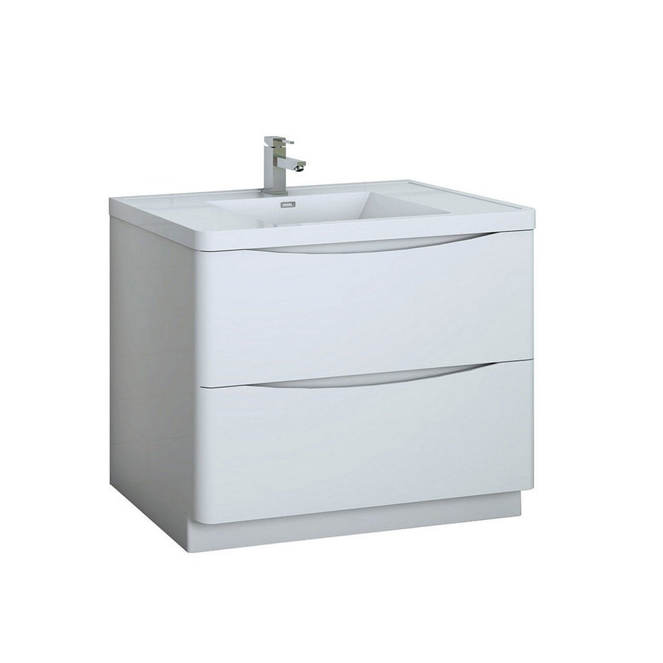"Fresca Tuscany 40"" Free Standing Modern Bathroom Cabinet with Integrated Sink Fresca 40 inch Single Vanity Glossy White"