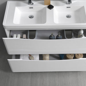 "Fresca Tuscany 48"" Free Standing Modern Bathroom Cabinet with Integrated Double Sink Fresca 48 inch Double Vanity"