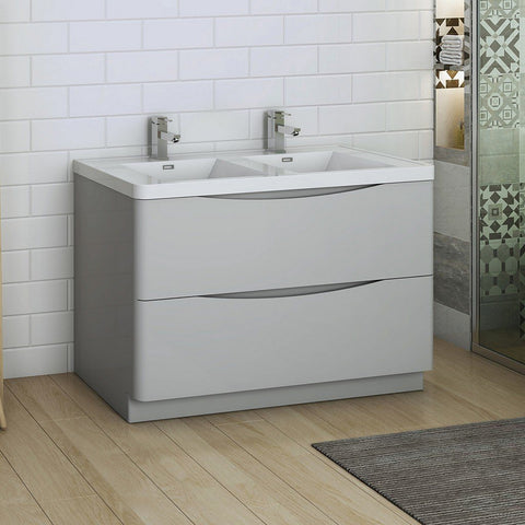 "Fresca Tuscany 48"" Free Standing Modern Bathroom Cabinet with Integrated Double Sink Fresca 48 inch Double Vanity Glossy Gray"