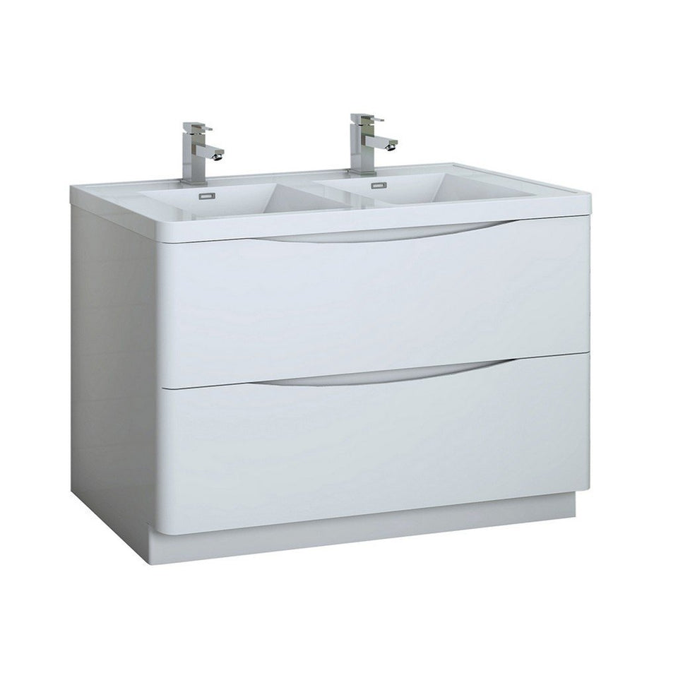 "Fresca Tuscany 48"" Free Standing Modern Bathroom Cabinet with Integrated Double Sink Fresca 48 inch Double Vanity Glossy White"