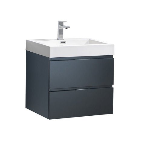 "Fresca Valencia 24"" Wall Hung Modern Bathroom Vanity Fresca 24 inch Single Vanity Dark Slate Gray"