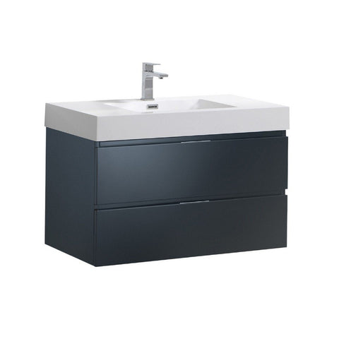 "Fresca Valencia 36"" Wall Hung Modern Bathroom Vanity Fresca 36 inch Single Vanity Dark Slate Gray"