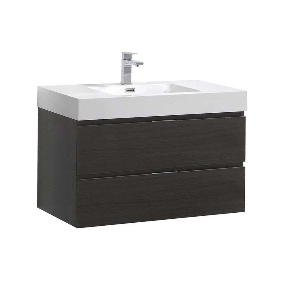 "Fresca Valencia 36"" Wall Hung Modern Bathroom Vanity Fresca 36 inch Single Vanity Gray Oak"