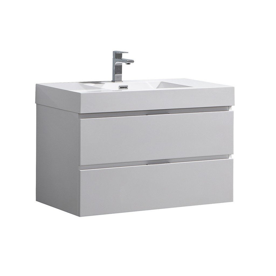 "Fresca Valencia 36"" Wall Hung Modern Bathroom Vanity Fresca 36 inch Single Vanity Glossy White"