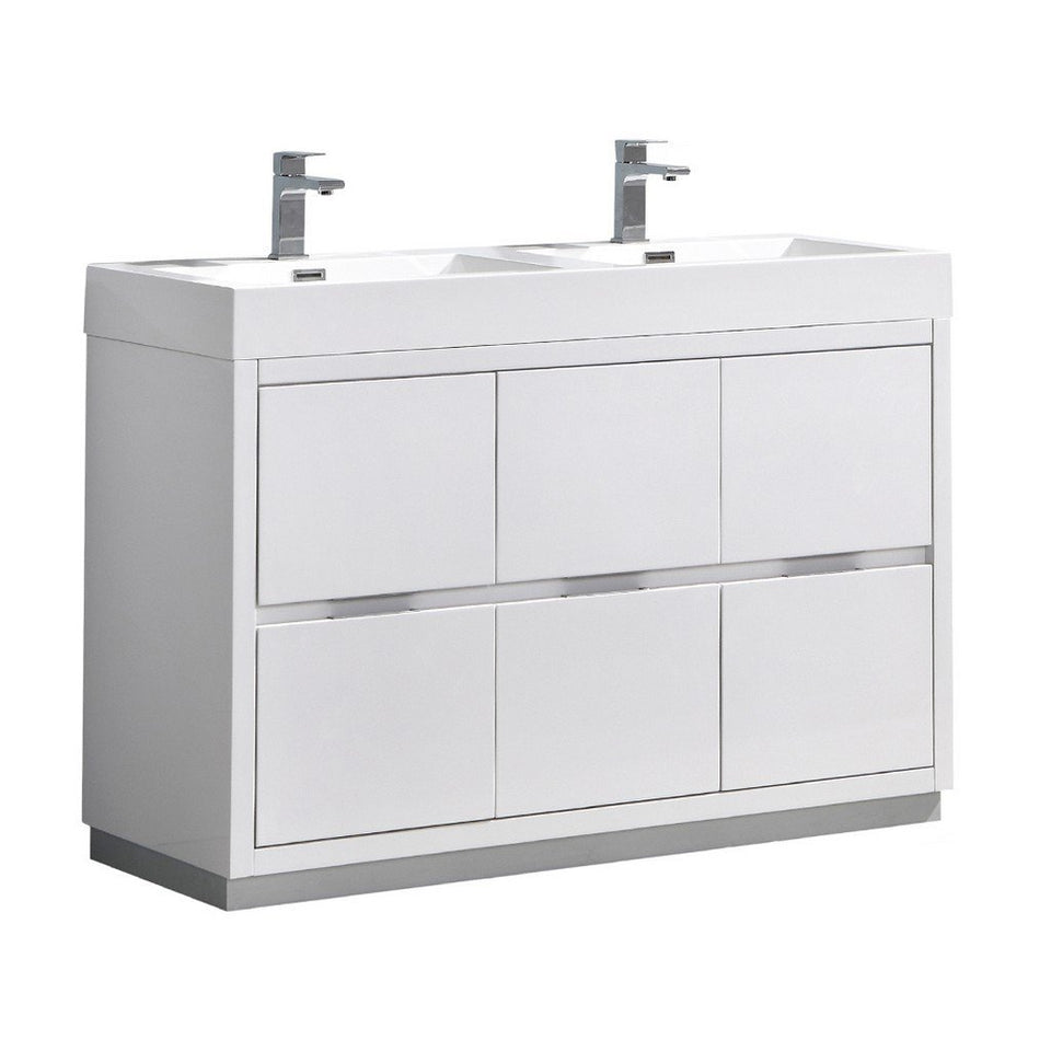 "Fresca Valencia 48"" Free Standing Double Sink Modern Bathroom Vanity Fresca 48 inch Double Vanity Glossy White"