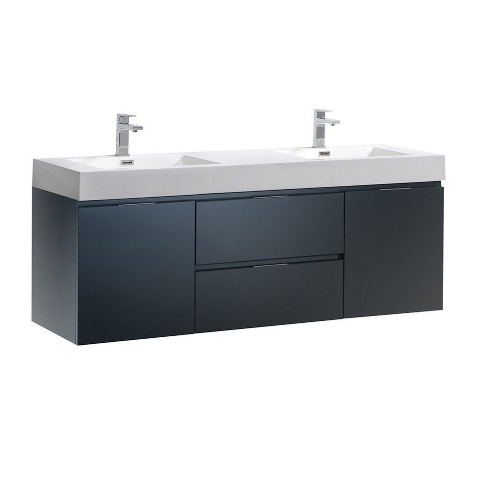 "Fresca Valencia 60"" Wall Hung Double Sink Modern Bathroom Vanity Fresca 60 inch Double Vanity Dark Slate Gray"
