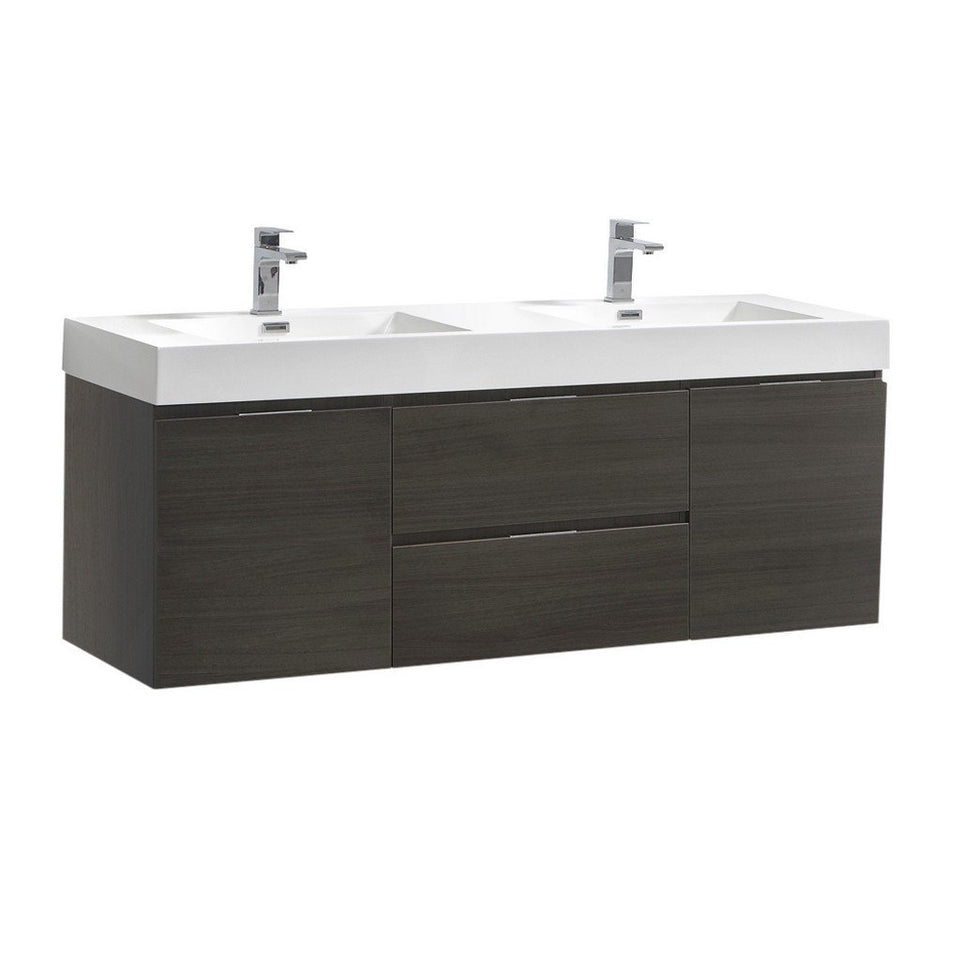 "Fresca Valencia 60"" Wall Hung Double Sink Modern Bathroom Vanity Fresca 60 inch Double Vanity Gray Oak"