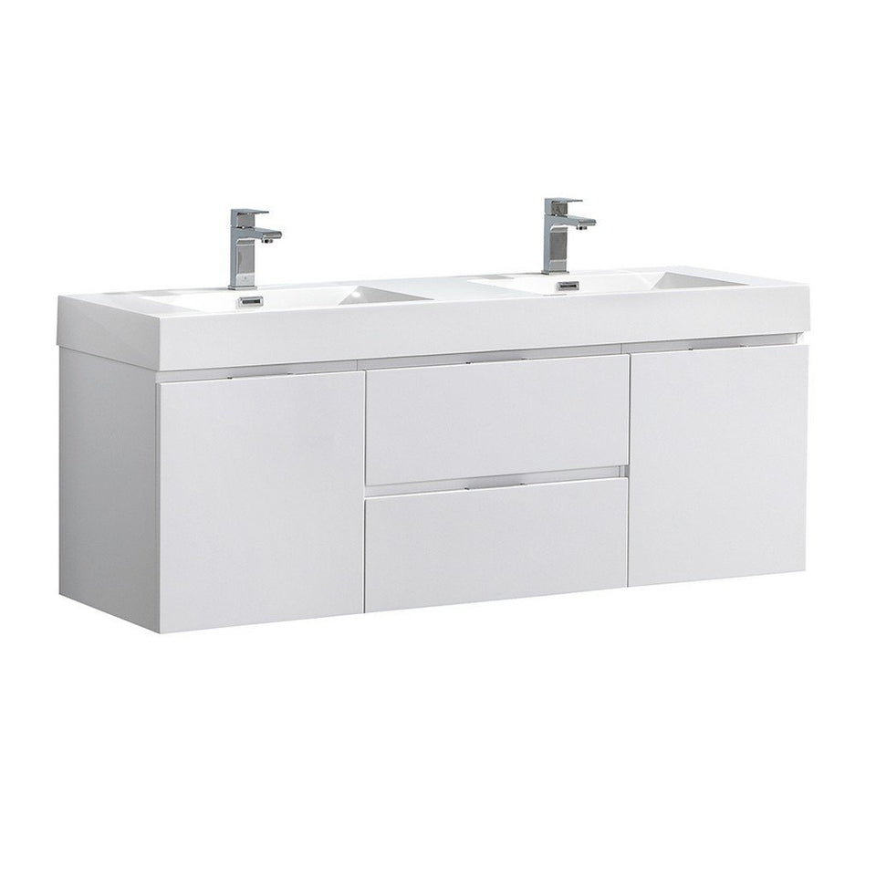 "Fresca Valencia 60"" Wall Hung Double Sink Modern Bathroom Vanity Fresca 60 inch Double Vanity Glossy White"