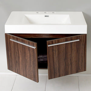 "Fresca Vista 36"" Modern Bathroom Cabinet with Integrated Sink Fresca 36 inch Single Vanity"