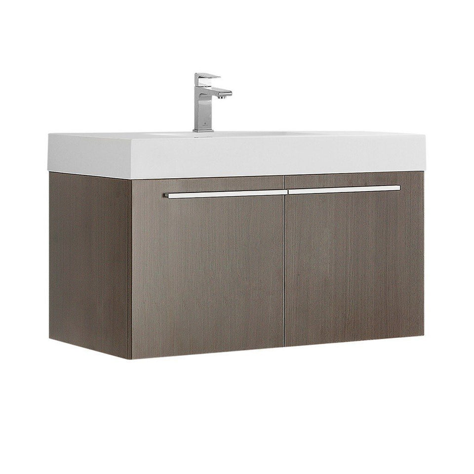 "Fresca Vista 36"" Modern Bathroom Cabinet with Integrated Sink Fresca 36 inch Single Vanity Gray Oak"