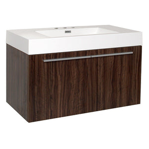 "Fresca Vista 36"" Modern Bathroom Cabinet with Integrated Sink Fresca 36 inch Single Vanity Walnut"
