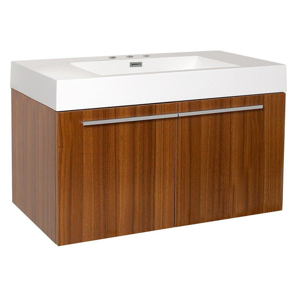 "Fresca Vista 36"" Modern Bathroom Cabinet with Integrated Sink Fresca 36 inch Single Vanity Teak"