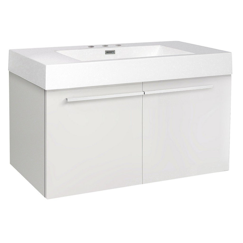 "Fresca Vista 36"" Modern Bathroom Cabinet with Integrated Sink Fresca 36 inch Single Vanity White"
