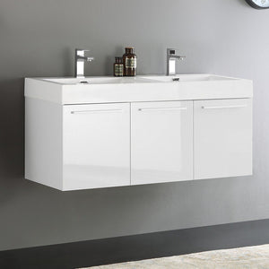 "Fresca Vista 48"" Wall Hung Double Sink Modern Bathroom Cabinet with Integrated Sinks Fresca 48 inch Double Vanity"