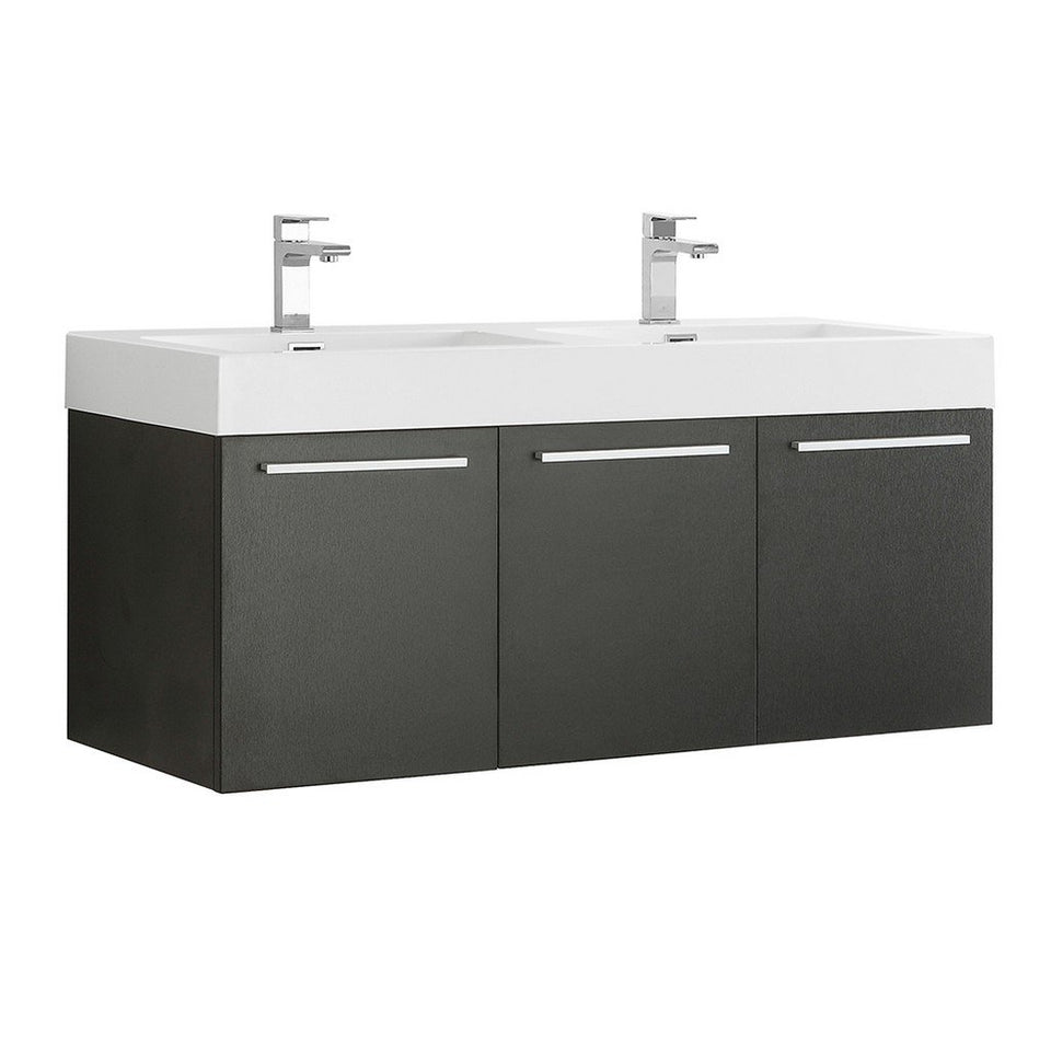 "Fresca Vista 48"" Wall Hung Double Sink Modern Bathroom Cabinet with Integrated Sinks Fresca 48 inch Double Vanity Black"
