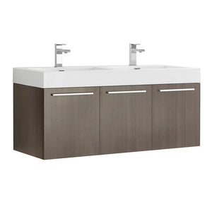 "Fresca Vista 48"" Wall Hung Double Sink Modern Bathroom Cabinet with Integrated Sinks Fresca 48 inch Double Vanity Gray Oak"