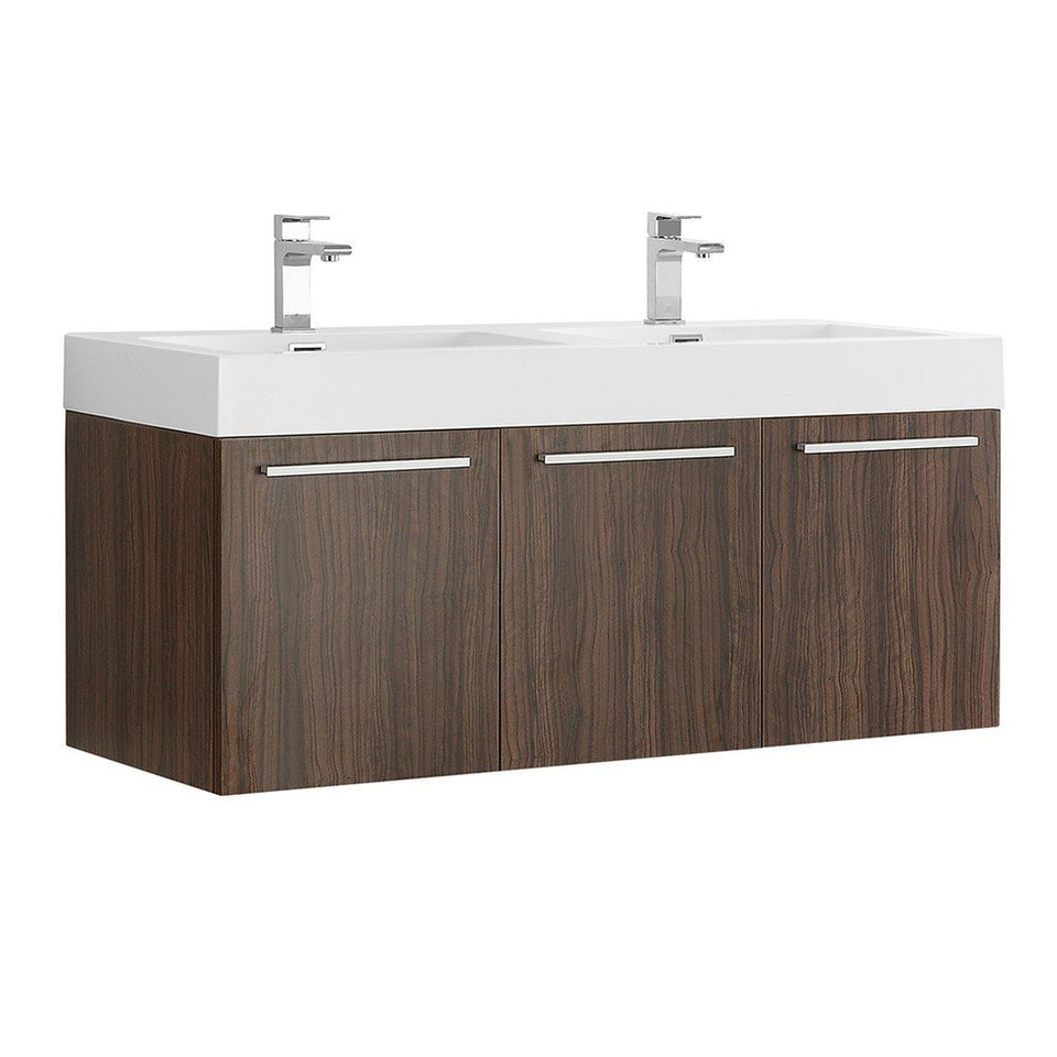 "Fresca Vista 48"" Wall Hung Double Sink Modern Bathroom Cabinet with Integrated Sinks Fresca 48 inch Double Vanity Walnut"
