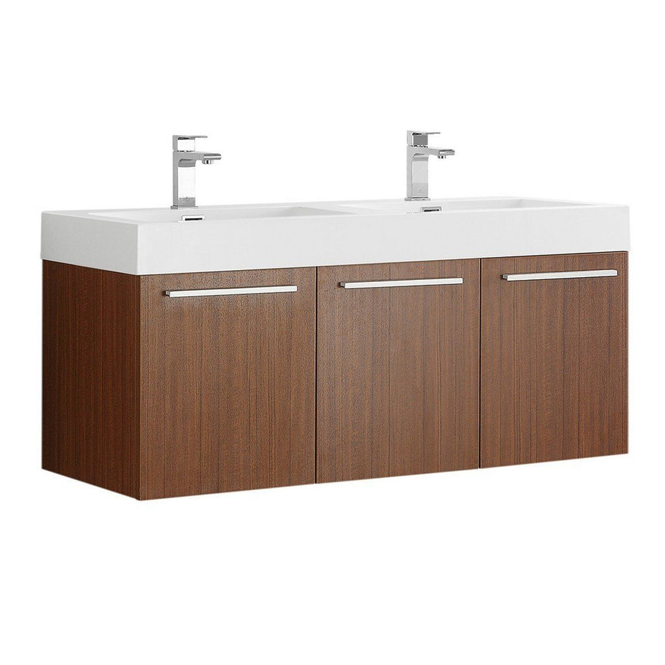 "Fresca Vista 48"" Wall Hung Double Sink Modern Bathroom Cabinet with Integrated Sinks Fresca 48 inch Double Vanity Teak"