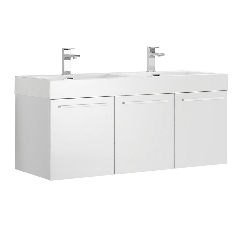 "Fresca Vista 48"" Wall Hung Double Sink Modern Bathroom Cabinet with Integrated Sinks Fresca 48 inch Double Vanity White"