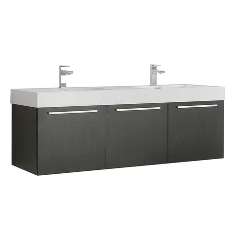 "Fresca Vista 60"" Wall Hung Double Sink Modern Bathroom Cabinet with Integrated Sinks Fresca 60 inch Double Vanity Black"