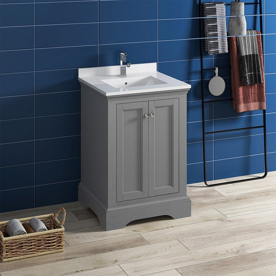 "Fresca Windsor 24"" Traditional Bathroom Cabinet with Top & Sink Fresca 24 inch Single Vanity"