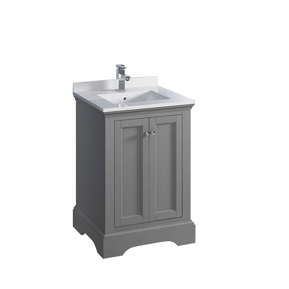 "Fresca Windsor 24"" Traditional Bathroom Cabinet with Top & Sink Fresca 24 inch Single Vanity Gray"