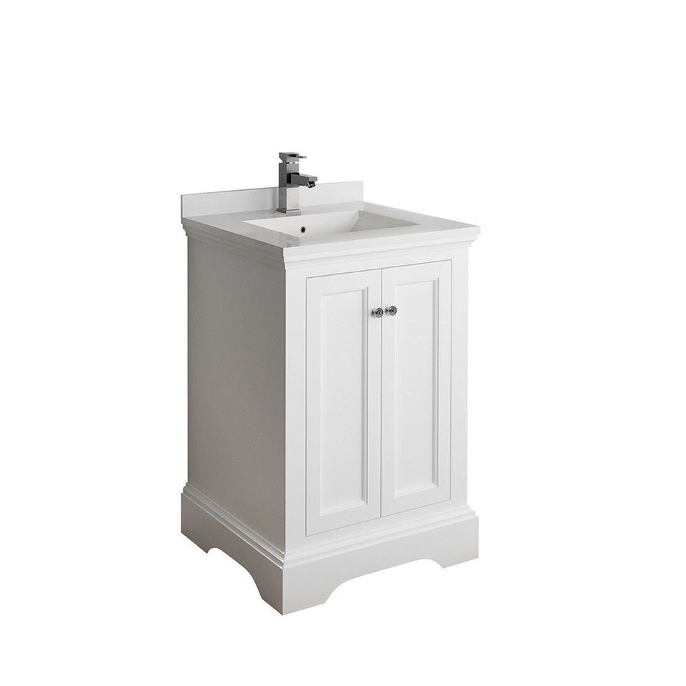 "Fresca Windsor 24"" Traditional Bathroom Cabinet with Top & Sink Fresca 24 inch Single Vanity Matte White"