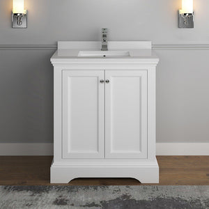 "Fresca Windsor 30"" Traditional Bathroom Cabinet with Top & Sink Fresca 30 inch Single Vanity"