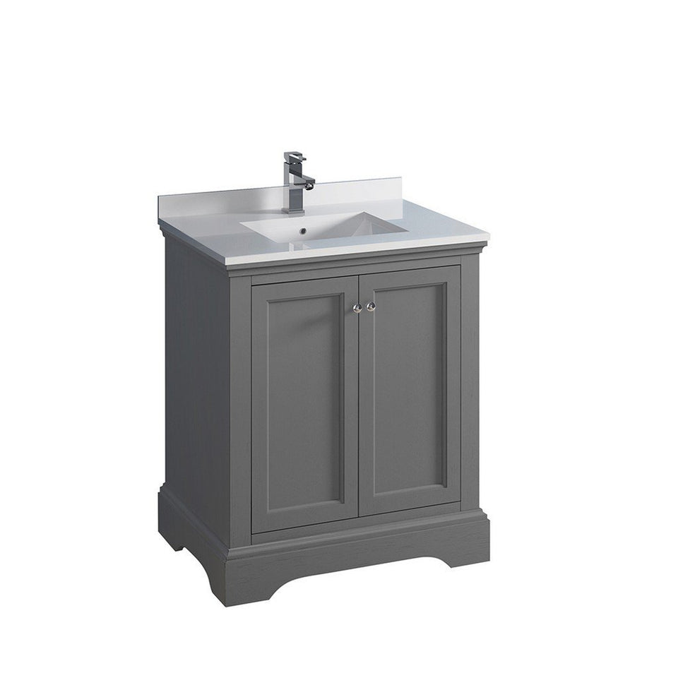 "Fresca Windsor 30"" Traditional Bathroom Cabinet with Top & Sink Fresca 30 inch Single Vanity Gray"