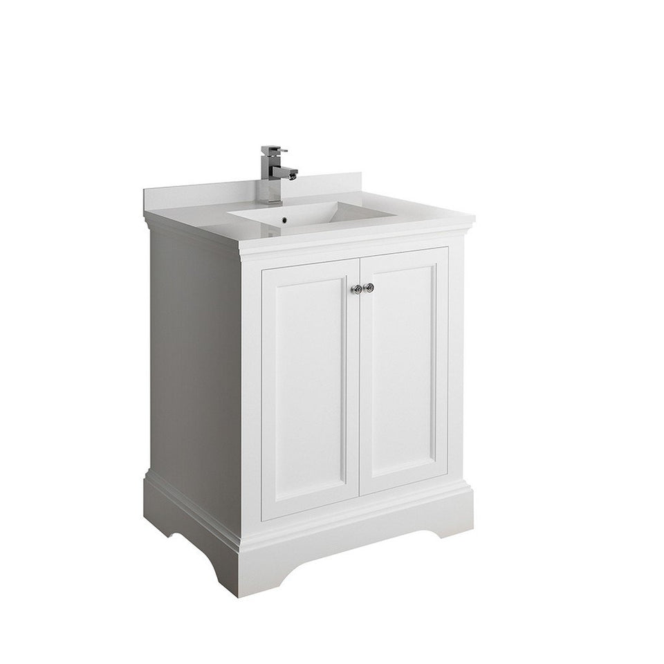 "Fresca Windsor 30"" Traditional Bathroom Cabinet with Top & Sink Fresca 30 inch Single Vanity Matte White"