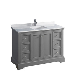 "Fresca Windsor 48"" Traditional Bathroom Cabinet with Top & Sink Fresca 48 inch Single Vanity Gray"