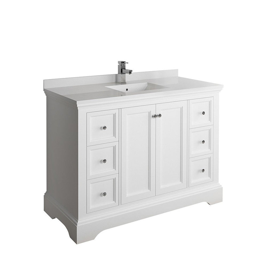 "Fresca Windsor 48"" Traditional Bathroom Cabinet with Top & Sink Fresca 48 inch Single Vanity Matte White"