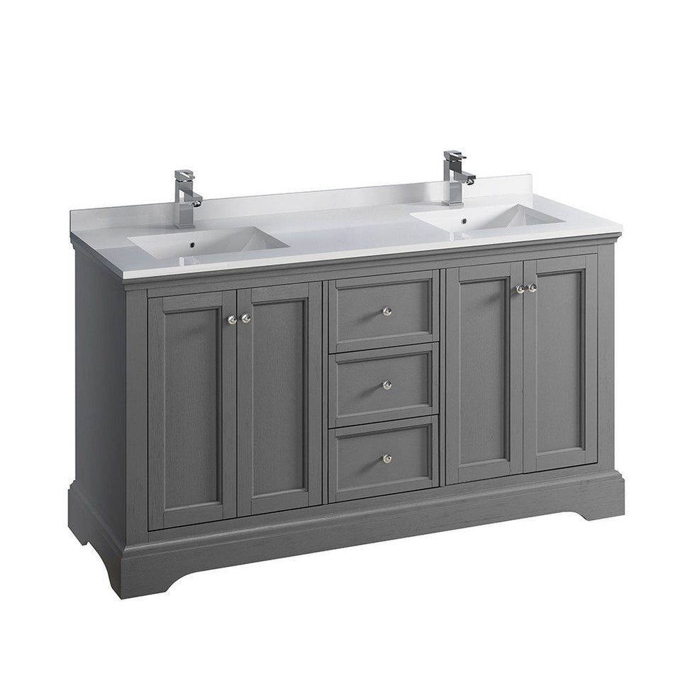 "Fresca Windsor 60"" Traditional Double Sink Bathroom Cabinet with Top & Sinks Fresca 60 inch Double Vanity Gray"