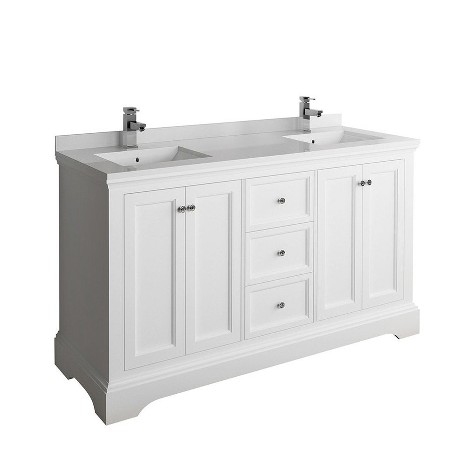 "Fresca Windsor 60"" Traditional Double Sink Bathroom Cabinet with Top & Sinks Fresca 60 inch Double Vanity Matte White"