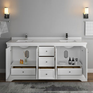 "Fresca Windsor 72"" Traditional Double Sink Bathroom Cabinet with Top & Sinks Fresca 72 inch and larger Double Vanity"