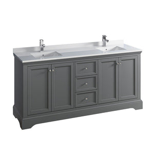 "Fresca Windsor 72"" Traditional Double Sink Bathroom Cabinet with Top & Sinks Fresca 72 inch and larger Double Vanity Gray"