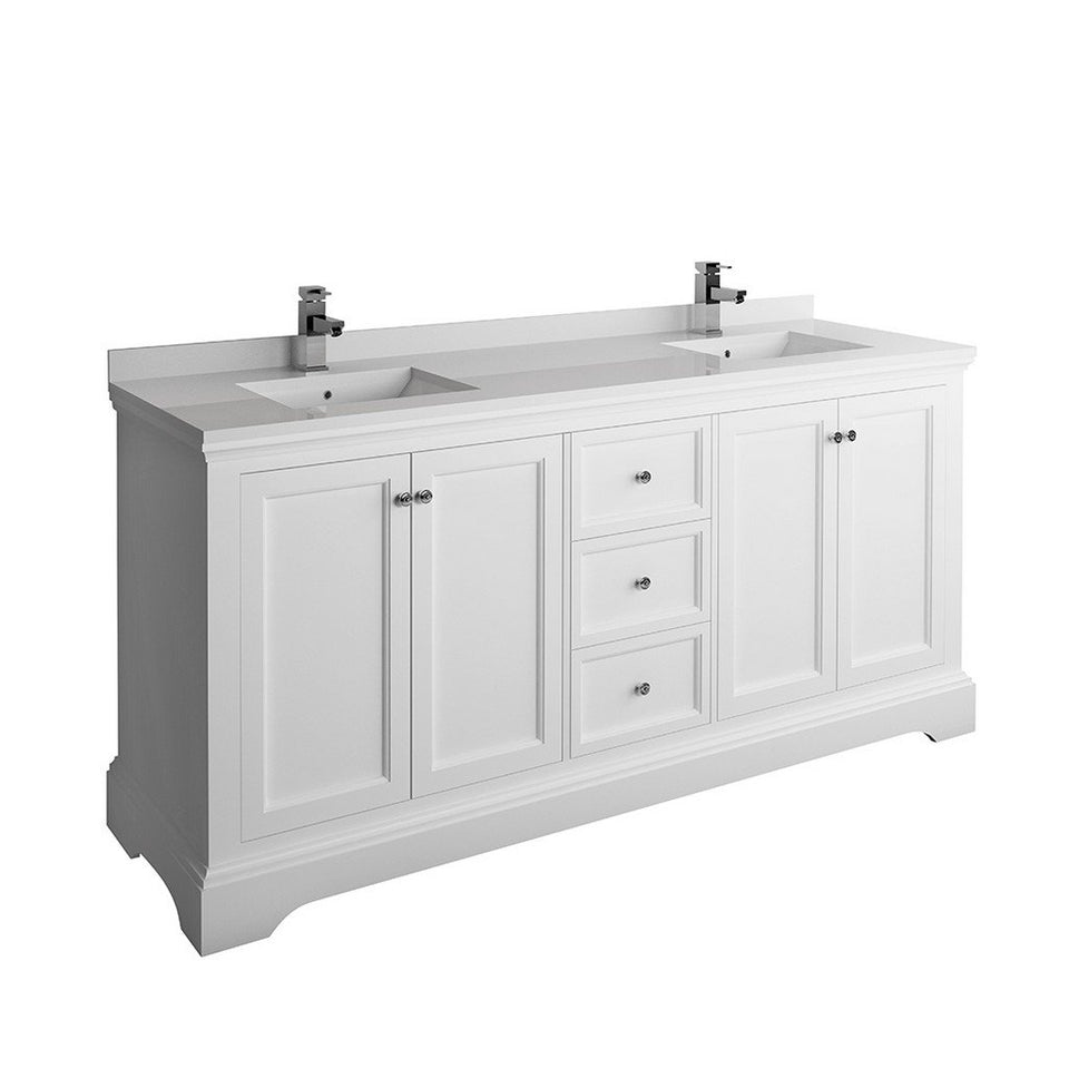 "Fresca Windsor 72"" Traditional Double Sink Bathroom Cabinet with Top & Sinks Fresca 72 inch and larger Double Vanity Matte White"