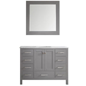 "Gela 48"" Single Vanity in Grey with Carrara White Marble Countertop Vinnova Vanities"