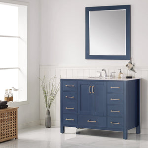 "Gela 48"" Single Vanity in Royal Blue with Carrara White Marble Countertop Vinnova Vanities"